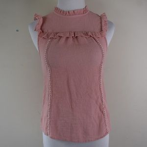 Mine Size Small Pink Textured Ruffled Blouse